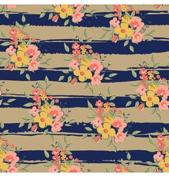 floral pattern with brown and blue stripes vector image