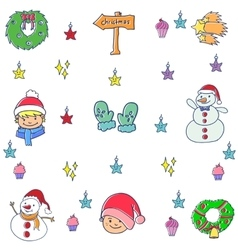Funny element christmas in doodles vector image