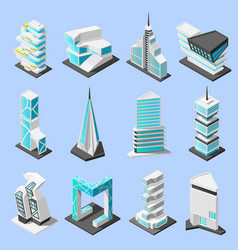 Futuristic architecture isometric set vector