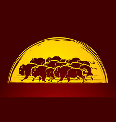 group of buffalo running graphic vector image