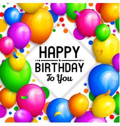 happy birthday greeting card bunch balloons vector image