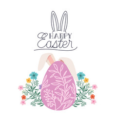 happy easter label with egg and rabbit ears icon vector image