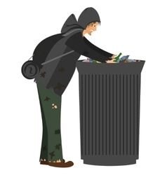Homeless people collection vector image