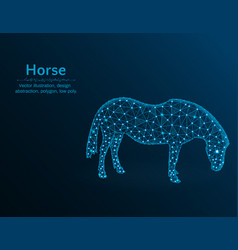 horse low poly polygonal animal on blue vector image
