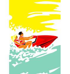 Hot day at sea man and woman on aquabike vector