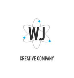 Initial letter wj atom neutron design logo vector