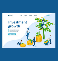 Isometric businessmen invest money vector