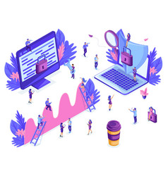 Isometric people work business promotion vector