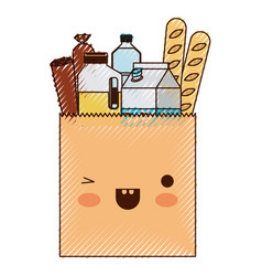 Kawaii square paper bag with foods sausage bread vector