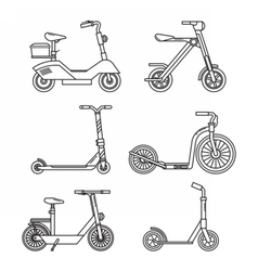 Kick Scooter Line Set vector image