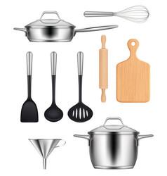 kitchen utensils pans steel pot griddles knives vector image