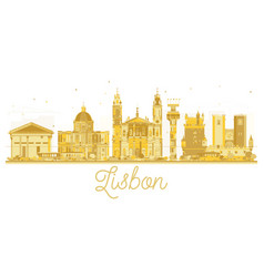 Lisbon city skyline golden silhouette vector