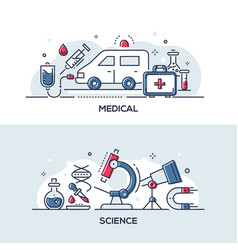 medical and science - modern line design style vector image