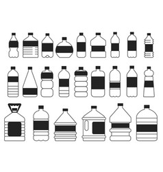 monochrome pictures set of plastic bottles vector image