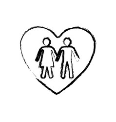 Monochrome sketch of couple inside of heart vector
