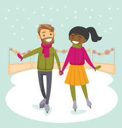 Multiracial couple skating on ice rink outdoors vector