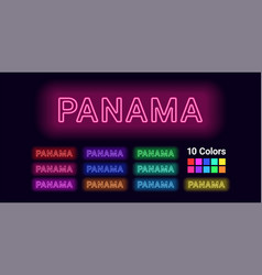 Neon name of panama city vector