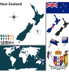 New Zealand world map small vector image
