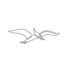 One single line drawing flying pterodactyl vector