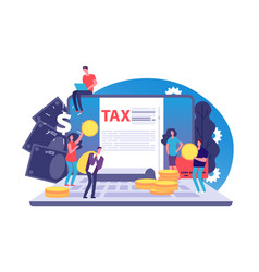 online tax concept tax form and tiny vector image