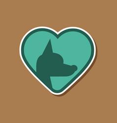 Paper sticker on stylish background puppy dog vector