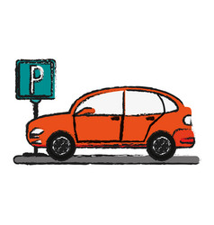 Parked car sideview icon image vector