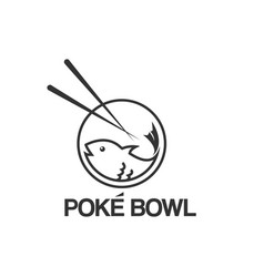 Poke bowl fish logo design template vector