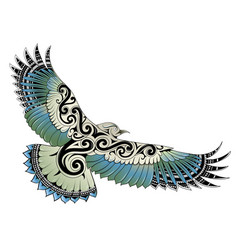Polynesian style bird tattoo vector
