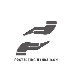 protecting hands icon simple flat style vector image
