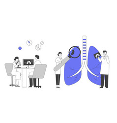 Pulmonology inspection respiratory system vector