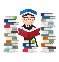 Pupil leaning on a pile of books vector