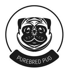 purebred pug logo icon simple style vector image