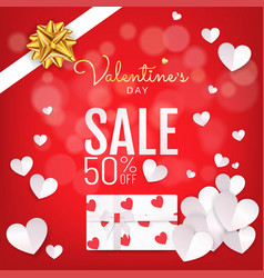 red background valentines day sale banner with vector image