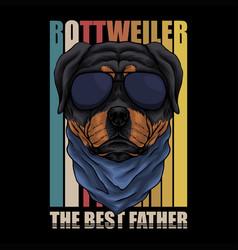rottweiler dog eyeglasses retro vector image