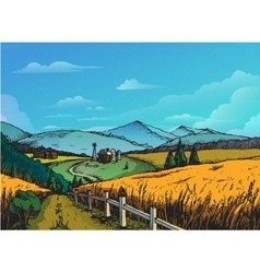 Rural landscape in graphical style hand drawn and vector