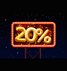 Sale 20 off ballon number on night sky vector