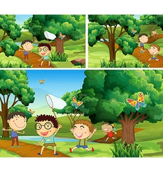 Scenes with children catching bugs in garden vector image