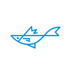 sea fish - logo template concept vector image