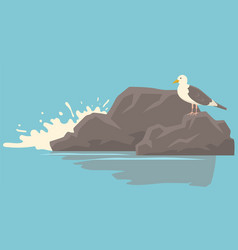 seagull with folded wings and closed beak standing vector image