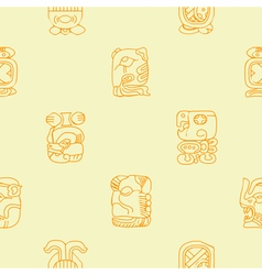 Seamless background with Maya calendar named month vector