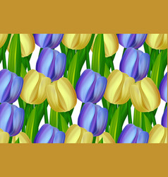 Seamless pattern made yellow and blue tulips vector
