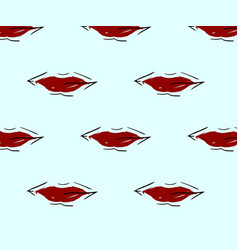 seamless pattern of burgundy lips on blue vector image