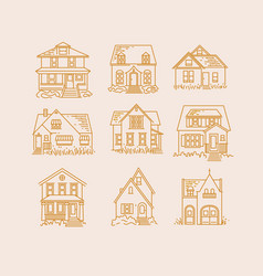 set house flat icons beige vector image