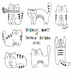Set of black and white sketch cats vector