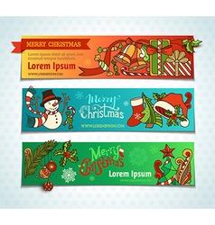 Set of bright Christmas horizontal banners vector