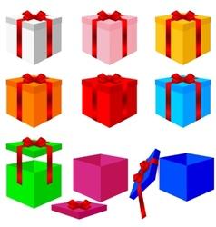 Set of colorful box christmas gifts vector image