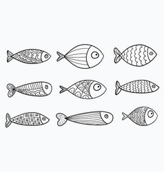 Set of stylized fishes collection vector