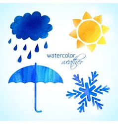 set watercolor weather icons vector image