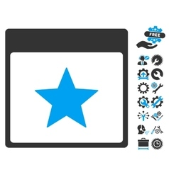 Star Calendar Page Icon With Bonus vector image vector image