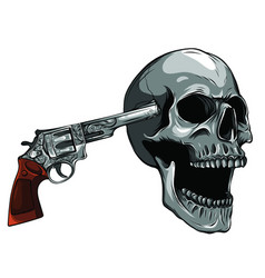 Suicide skull with gun and blood vector